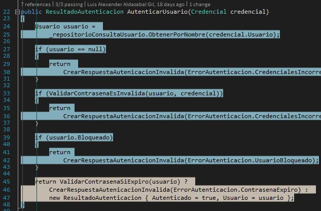 Code coverage usuario bloqueado