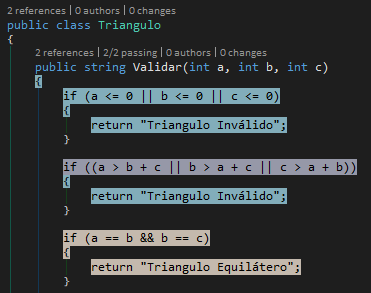 Code coverage Validar triangulo parte 2