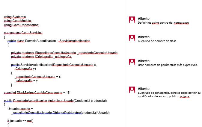 Revisión de código MsWord