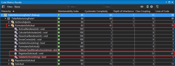 Code Metrics Taller refactoring